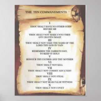 Zehn Gebote auf Pergament-Rolle Poster