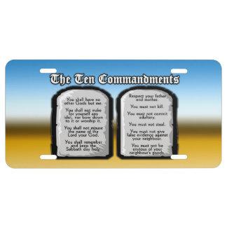 Zehn Gebote der heiligen Bibel, das Gesetz des US Nummernschild