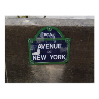 Zeichen Alleendes New York, Paris, Frankreich Postkarte