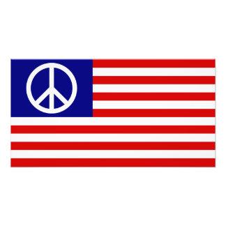 Zeichen-Flagge US Vereinigte Staaten Friedens Foto Drucke