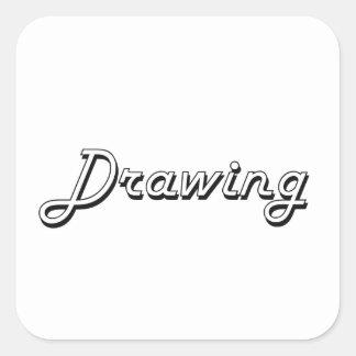 Zeichnen des klassischen Retro Entwurfs Quadratischer Aufkleber