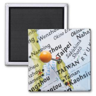 Zeichnen Sie das Button auf, das in Taipeh, Taiwan Quadratischer Magnet