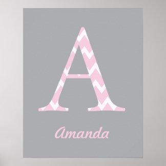 Zeichnen Sie personalisierten Zickzack rosa Poster