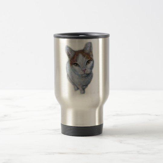 Zeichnen von Katzen-Weiß und Orange Edelstahl Thermotasse