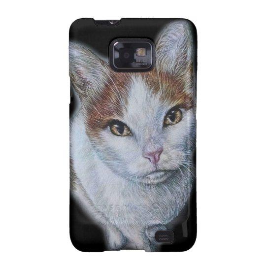 Zeichnen von Katzen-Weiß und Orange Galaxy SII Cover