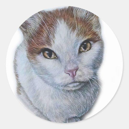 Zeichnen von Katzen-Weiß und Orange Runder Aufkleber
