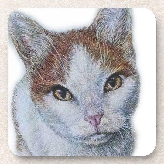 Zeichnen von Katzen-Weiß und Orange Untersetzer