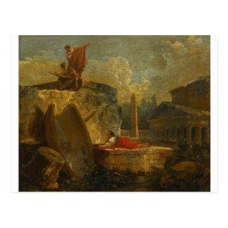 Zeichner in einer Landschaft mit antiken Ruinen Postkarte