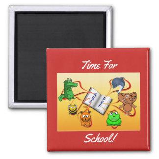 Zeit für Schule Quadratischer Magnet