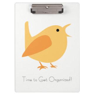 Zeit, organisiertes Vogel-Klipp-Brett zu erhalten Klemmbrett