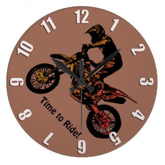 Zeit zu reiten! - Motocross-Laufen Große Wanduhr