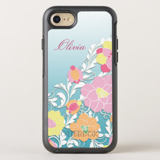 Zeitgenössisches gemeißeltes Blumen OtterBox Symmetry iPhone 7 Hülle