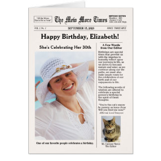 Zeitungs-Art mit Katzen-kundengerechtem Geburtstag Karte