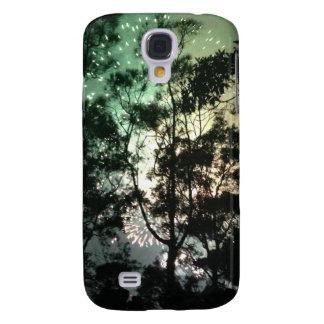 Zellentelefonkasten - Baum-Silhouettefeuerwerke Galaxy S4 Hülle