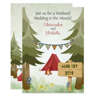 Zelte und Lagerfeuer-WaldCampings-Hochzeit laden Karte