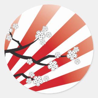 Zen blanc de fleurs de fleurs de cerisier de lever autocollants ronds