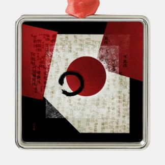 Zen Ensō Kreis mit Kanji-Potenzial 1 Silbernes Ornament