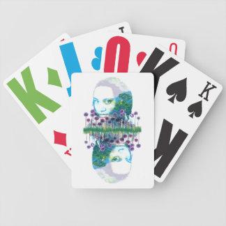 Zen-Garten-Frauen-Asiats-Bonsais + Lila Lauch Poker Karten