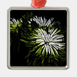 Zen-Limone grüne weiße mit Blumenchrysantheme Silbernes Ornament