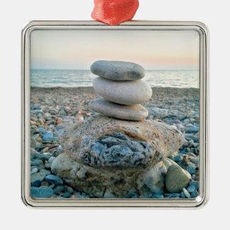 Zen-Strand-Steine Silbernes Ornament