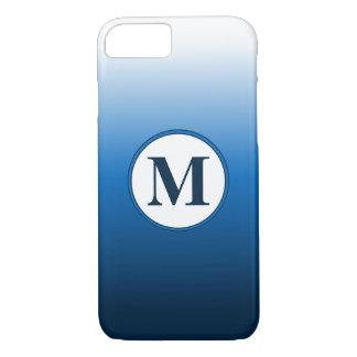 Zen-Weiß zu tiefem blauem Ombre Monogramm iPhone 8/7 Hülle