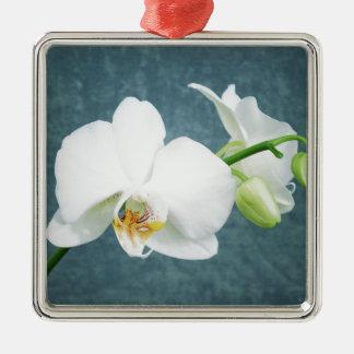 Zen-weiße Orchideen-Blume Silbernes Ornament