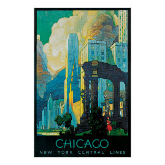 Zentrale Linien Reise-Plakat Chicagos New York Poster