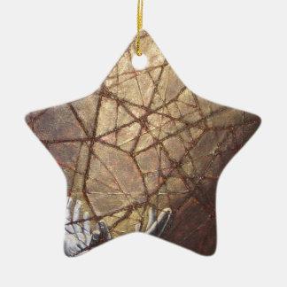 Zerbrochenes Glas und Sonnenlicht Keramik Stern-Ornament