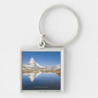 Zermatt, die Schweiz Silberfarbener Quadratischer Schlüsselanhänger