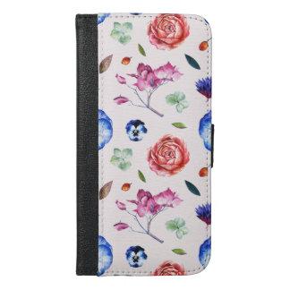 Zerstreutes Blumen-Muster iPhone 6/6s Plus Geldbeutel Hülle
