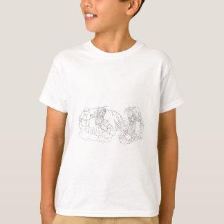 Zeus gegen Poseidon Schwarzweiss-zeichnen T-Shirt