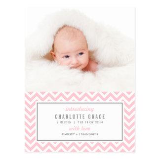 ZICKZACK moderne Geburts-Mitteilung Postkarte