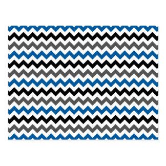Zickzack Muster-Hintergrund-blaues Grau Postkarte