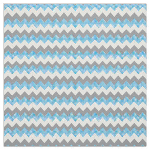 Zickzack Muster in hellblau, weiß und grau Stoff