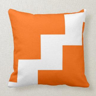 Zickzack Orange und weiß Kissen