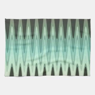 Zickzack-schwarzes aquamarines graues Muster Handtuch