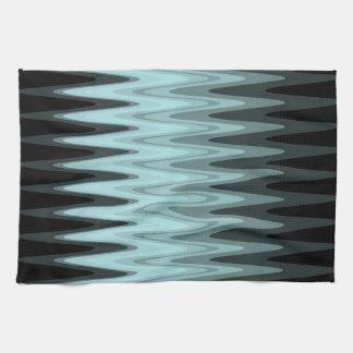 Zickzack-schwarzes aquamarines graues Muster Küchentuch