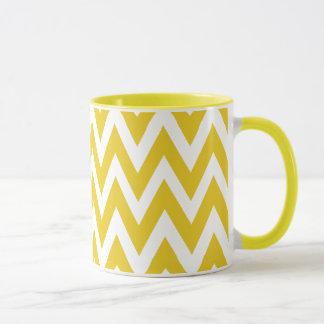 Zickzack Träume gelb und weißer Zickzack Kaffee Tasse