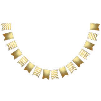 Zickzack u. GoldParty-Flaggen-Fahne Wimpelketten