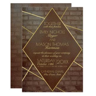 Ziegelstein-und Bronze-industrielle Hochzeit Karte