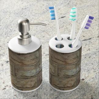 Ziegelstein-Zahnbürste-Halter-und Badset