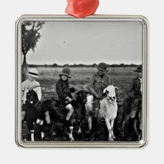 Ziegen-Reiter der Vergangenheit Silbernes Ornament