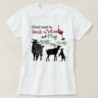 ZIEGEN | wollen, um Wein u. Spiel mit Ziegen zu T-Shirt