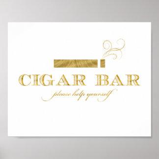 Zigarren-Bar-Zeichen - Imitat-Goldfolien-Schimmer Poster