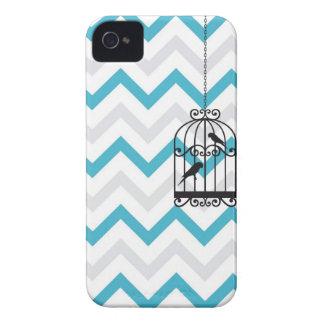 Zigzag Blackberry bleu vintage de Chevron de cage Coques Case-Mate iPhone 4