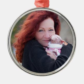 Zimt u. Rosie Verzierung Rundes Silberfarbenes Ornament