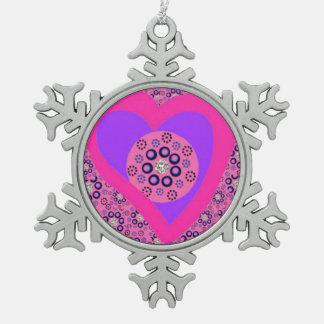 Zinn-Baum-Verzierungs-Rosa-Herz-Diamanten Schneeflocken Zinn-Ornament
