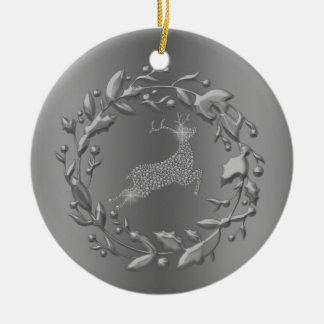 Zinn-Ren-und Kranz-Weihnachten Keramik Ornament