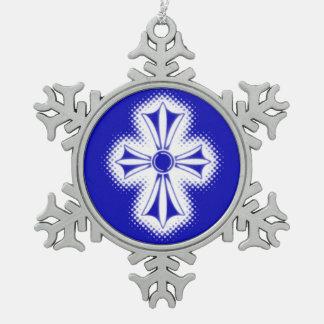 Zinn-Schneeflocke-Verzierung/blaues keltisches Schneeflocken Zinn-Ornament