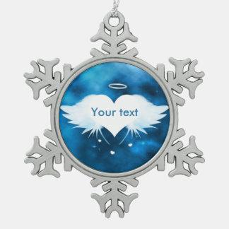 Zinn-Schneeflocke-Verzierung - Engel des Herzens Schneeflocken Zinn-Ornament